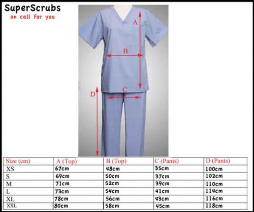 Image of Superscrubs medical scrubs sizing guide