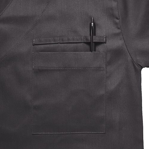 Image of Charcoal Grey Classic Range Scrub Top Pocket